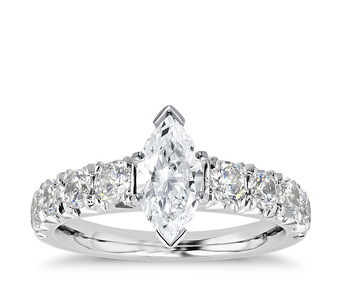 French Pavé Marquise Diamond Engagement Ring